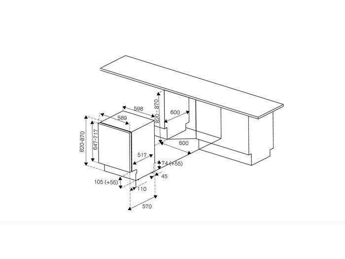 60 cm Fully Integrated Dishwasher | Bertazzoni