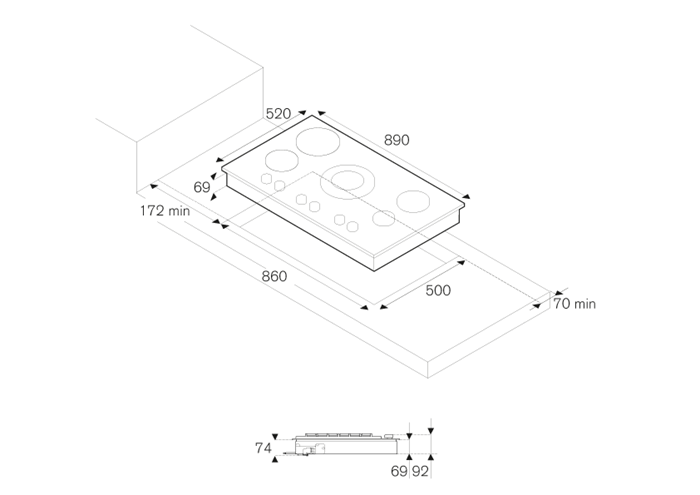 90 3-Segment Gas/Griddle/Induction hob | Bertazzoni