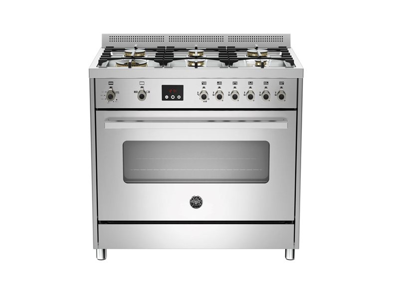 90 cm 6-Burner, Gas Oven | Bertazzoni - Stainless Steel