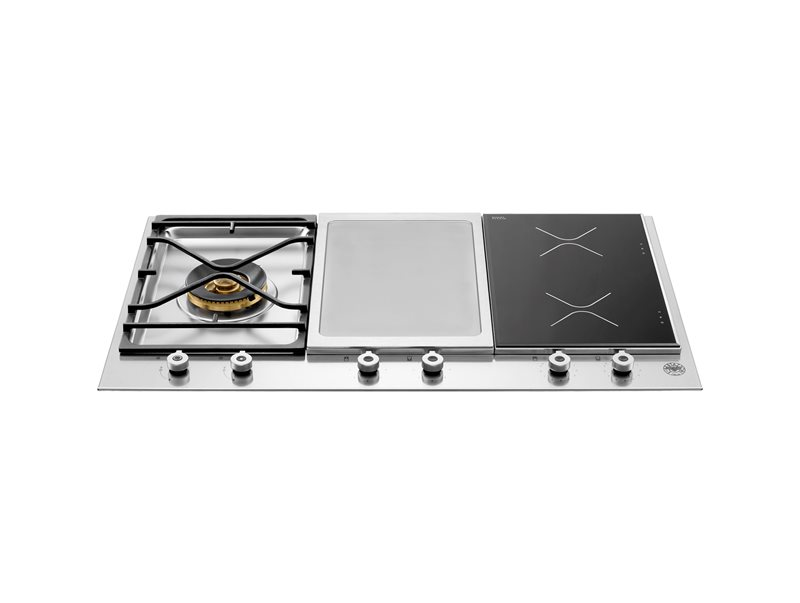 90 3-Segment Gas/Griddle/Induction hob | Bertazzoni - Stainless Steel